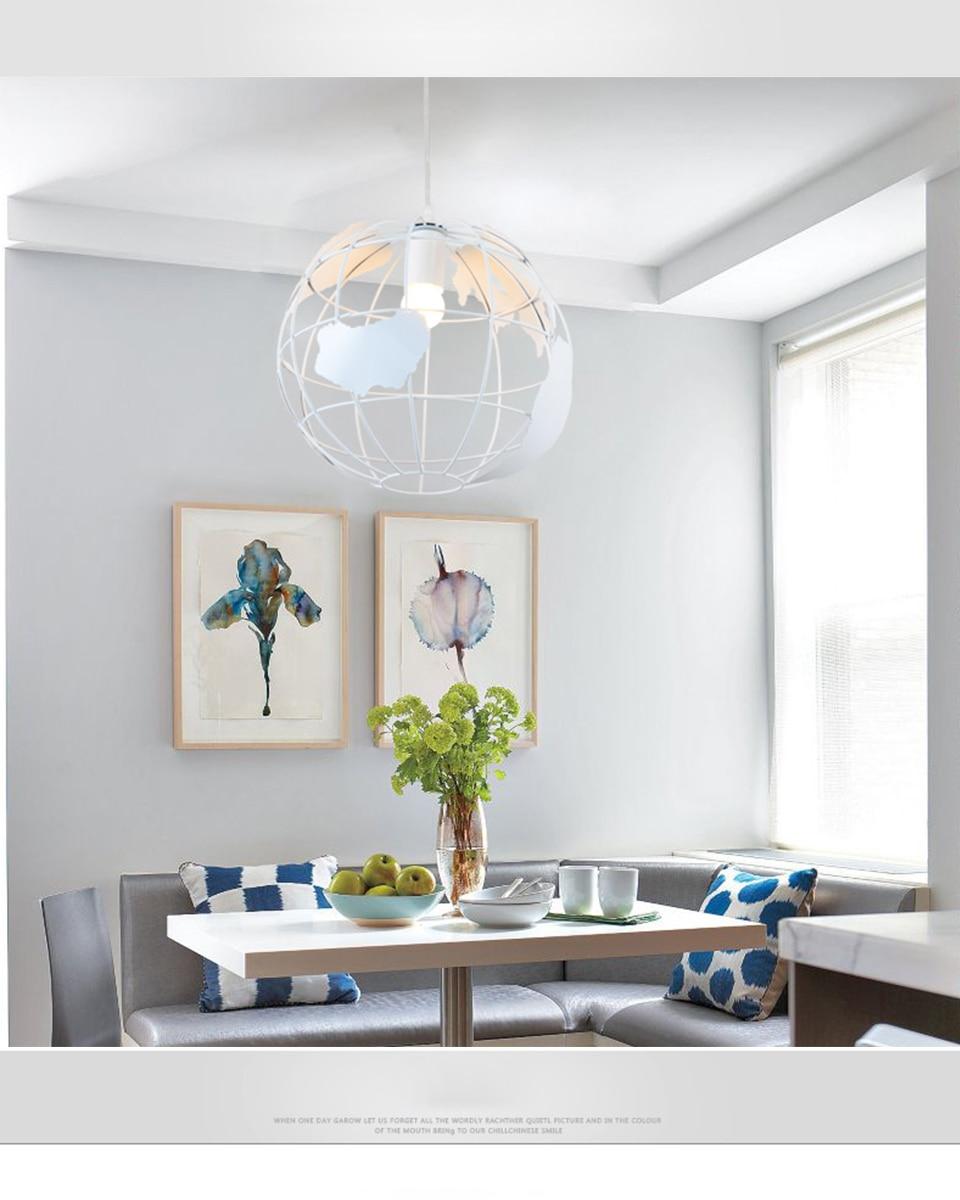 Современный подвесной светильник в скандинавском стиле с шаром, карта мира, E27, лампа белого и черного цвета для гостиной, кафе, бара, лофт, винтажный светильник - 3
