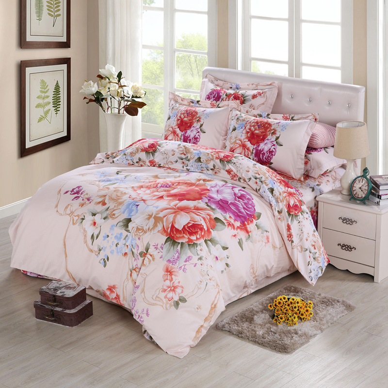 oriental vintage rose peony 3d watercolor flower bedding sets queen king size duvet cover bed. Black Bedroom Furniture Sets. Home Design Ideas