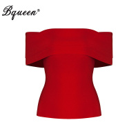 Bqueen Slash Neck Bandage Fashion Sleeveless Summer Lady Tank Top Sexy Solid Short Off Shoulder Crop