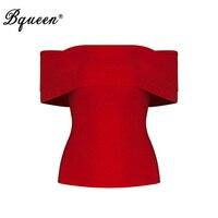 Bqueen Slash Neck Bandage Fashion Sleeveless Summer Lady Tank Top Sexy Solid Short Off Shoulder Crop
