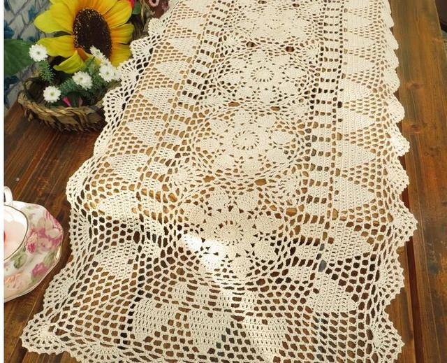 Rectangle Country Crochet Table Runner Cotton Cloth Lace
