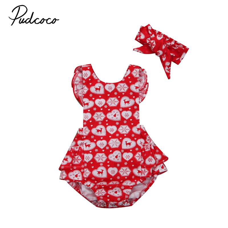 Pudcoco Newborn Baby Christmas Clothes Ruffles Romper Sleeve Backless Tutu Halter Jumpsuit+Headband 2PCS Outfits Xmas Clothing 4pcs set baby girls clothing newborn baby clothes christmas infant jumpsuit clothes xmas bebe suits toddler romper tutu dresses