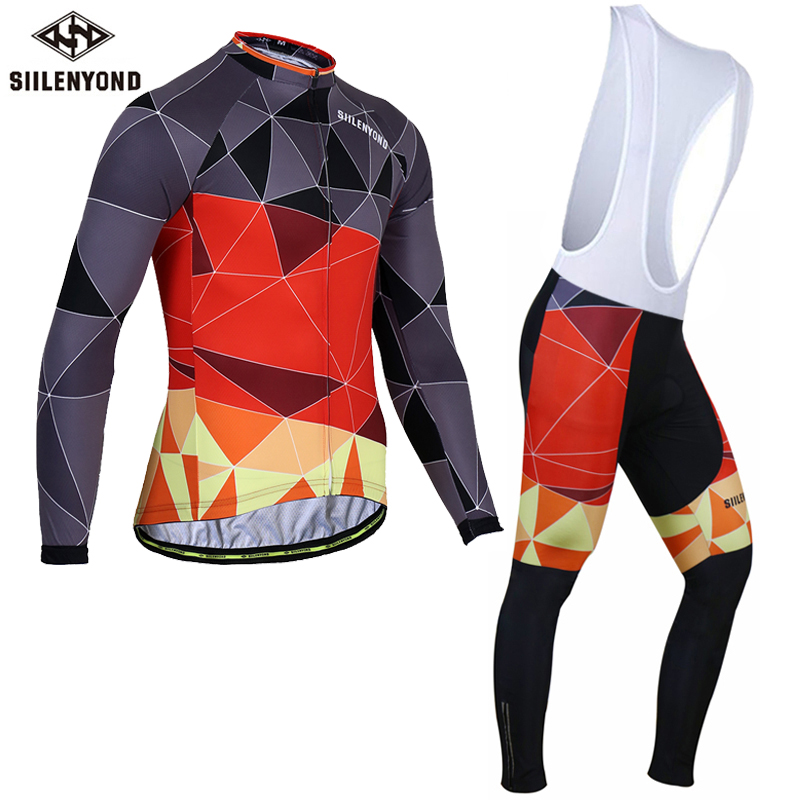 Siilenyond Winter 2017 Long Sleeve Pro Thermal Fleece Cycling Jersey Set Bicycle Clothing Maillot Ropa Ciclismo Bike Clothes black thermal fleece cycling clothing winter fleece long adequate quality cycling jersey bicycle clothing cc5081