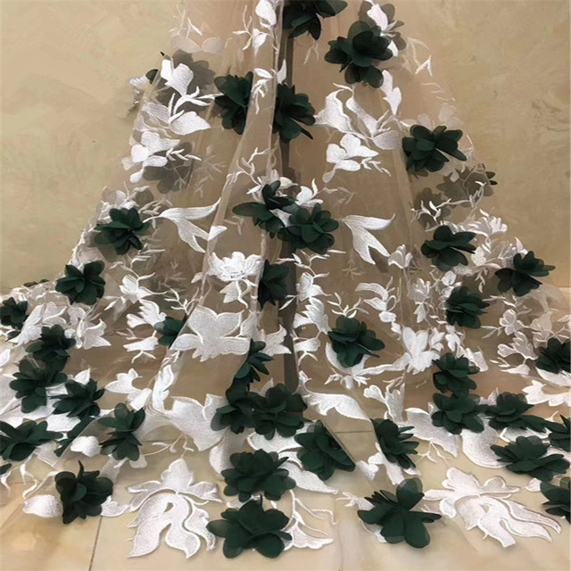 Green/Whit African Lace Fabric 3d Flower Nigeria African Lace Fabric Dubai French Lace Embroidery Tulle Net Lace Fabric X1414