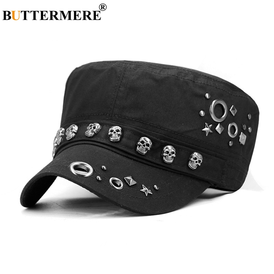 01d9cbba874 Cot military hat men black punk flat cap women skull rivet army caps jpg  950x950 Military