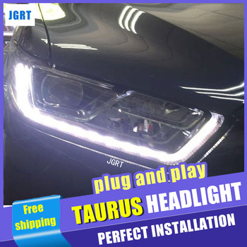 Car Styling  Headlight assembly 2015-2016 for Ford Taurus DoubleU Angel Eye LED DRL Lens Double Beam H7 hid kit with 2pcs.