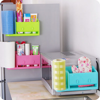 Paper towel Cosmetics holder Smiling face Wall shelf with hook kitchen utensils organizer storage box