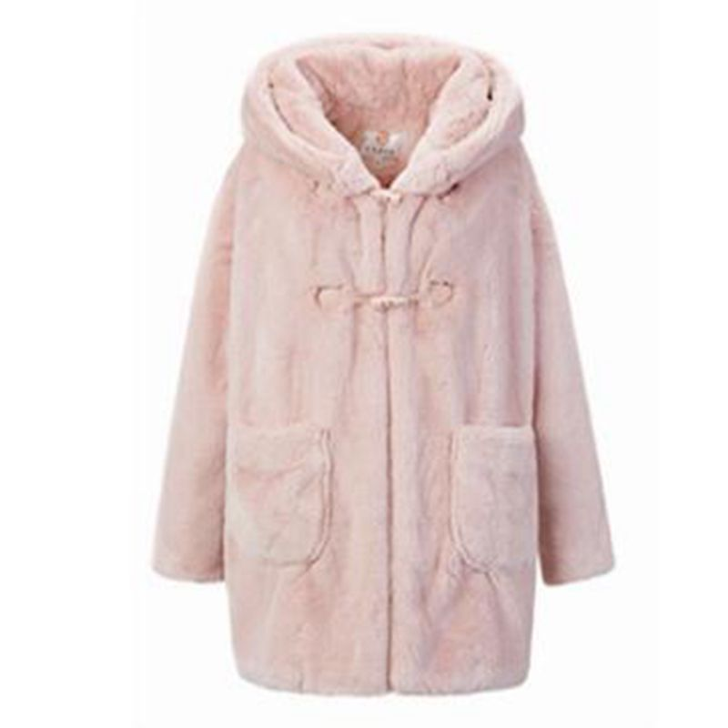 BR 2018 winter new woman faux fur Hooded coat women Plush rabbit long jacket Woman Parkas Outerwear