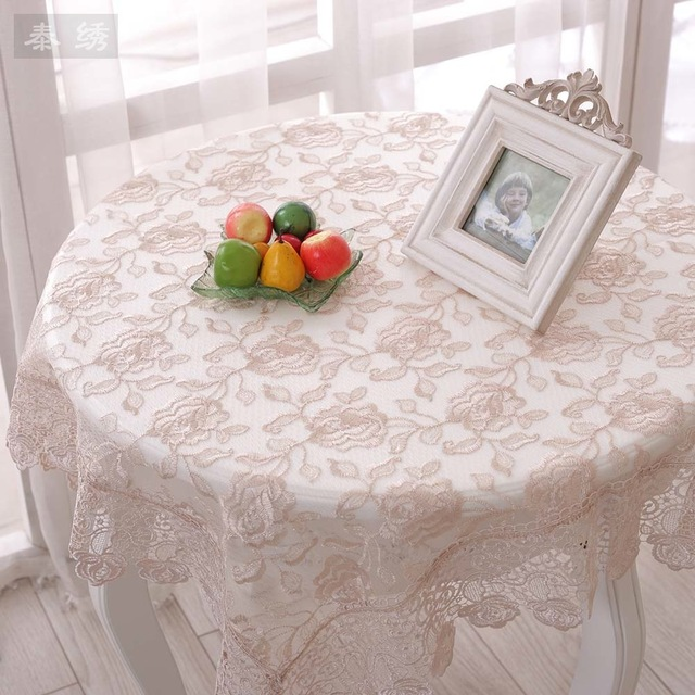 Korean Coffee Table Rectangular Cloth Embroidered Translucent Lace Tablecloths Past Roundtable Round Clot