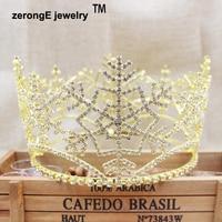 zerongE jewelry Austrian Crystals Women Princess Snowflake Tiara Crown gold full circle Christmas Hair jewelry tiara crown