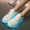 2016 venda Quente Led Branco Sapatos para Adultos Luz De Carregamento USB até os homens sapatos Neon Colorido Luminosos Sapatos Moda Masculina sapatos Casuais