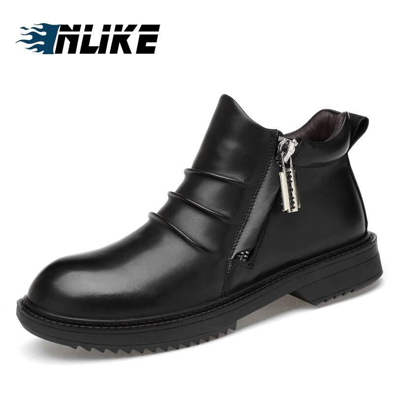 Inlike Hommes En Véritable D'affaires Chaussures Homme Mode D'hiver Casual Bottes plush Taille Cuir Noir De Grande Cheville wPkn0O
