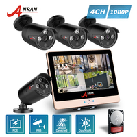 ANRAN P2P 1080P HDMI 4CH POE NVR 12 Inch LCD Screen Array IR Outdoor Security IP
