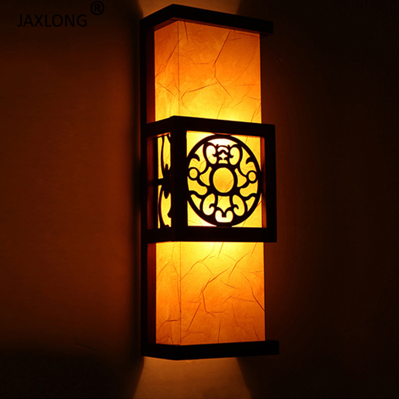 Modern Chinese retro Style wall sconce Lighting Bedroom Bedside Solid Wood Carved Wall Lamp Corridor Aisle Retro De Wall Light in LED Indoor Wall Lamps from Lights Lighting