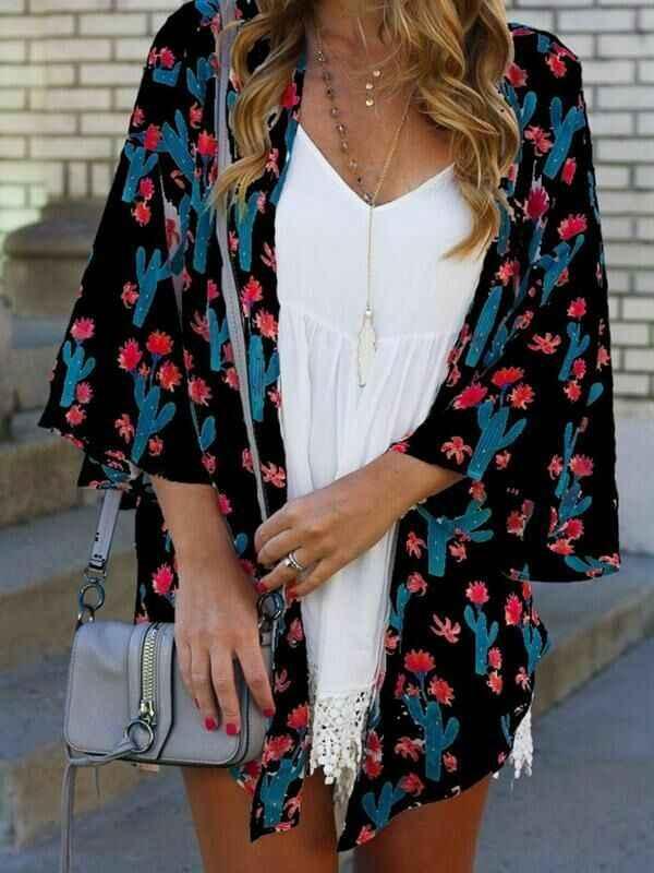 AU женский кардиган с длинным рукавом кактус кимоно шаль свободные топы блузка пальто куртка