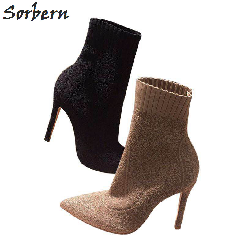 Sorbern Stretched Fabric Ankle Boots Women 9CM/7CM High Heels Pointed Toe Winter Shoes Ladies Small Size 34-39 Black/Khaki Boots 2017 solid black winter spring women shoes slip on pointed toe spike high heels ankle boots women free ship size 9 12