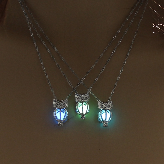 Charm Glowing Long Owl Pendant Necklace