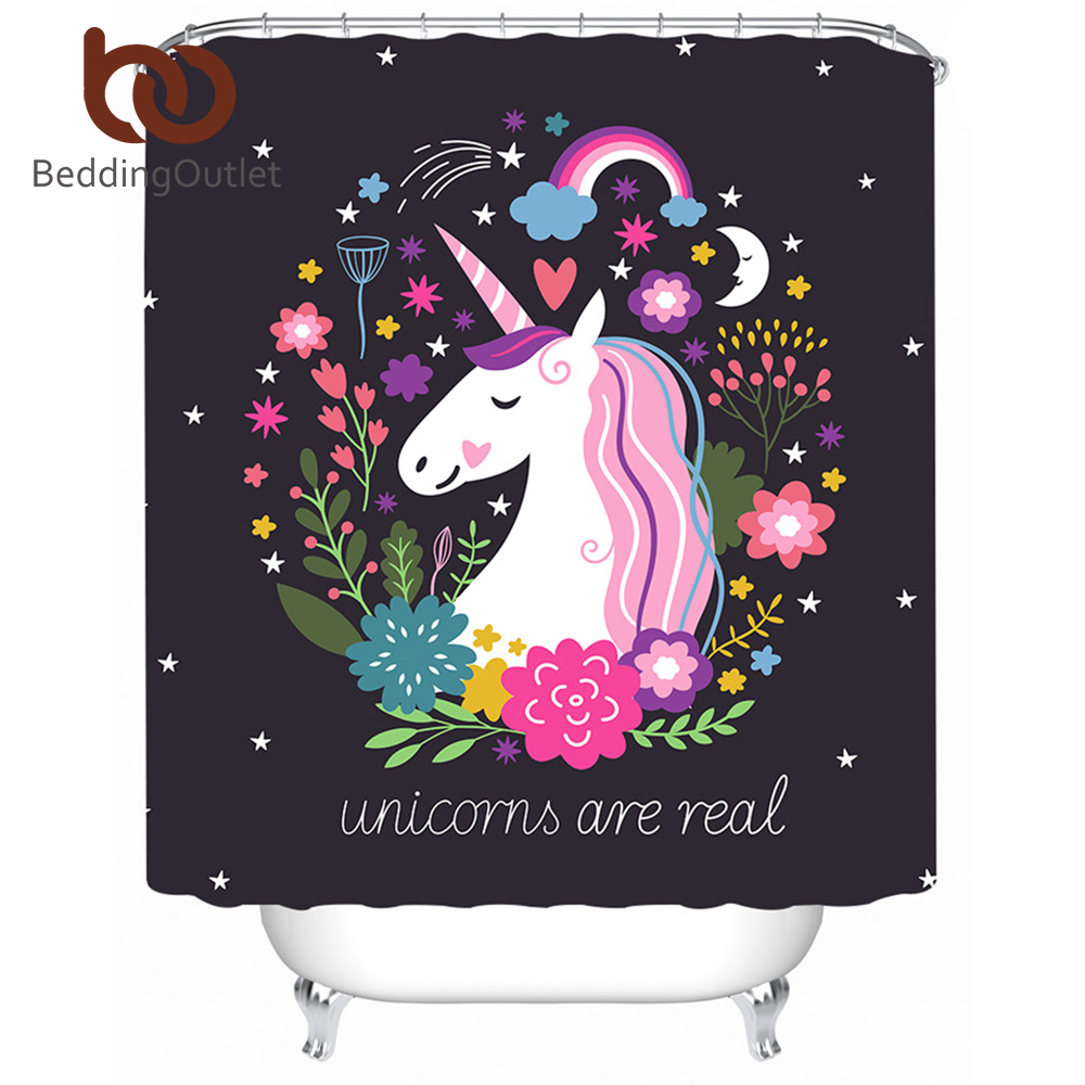 BeddingOutlet Unicorn Shower Curtain Floral Pink And Black Waterproof Polyester Cartoon Bathroom Decoration With Hooks