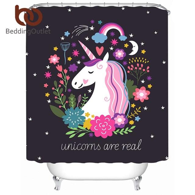 BeddingOutlet Unicorno Tenda Della Doccia Floreale Rosa e Nero Impermeabile Tend
