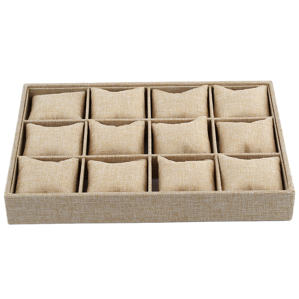 Light Yellow Pillow Slots 12 Grids Watch Boxes Bracelet Tray Watch Display Case Burlap Watches Storage Watch Display Tray Holder