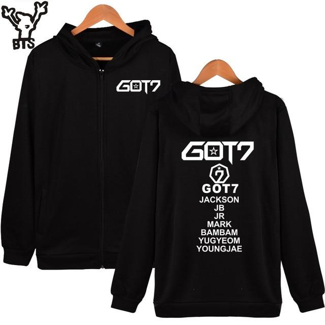 BTS Got7 k-pop Sudadera con capucha hombres cremallera sudaderas otoño Sudadera  Mujer invierno moda 7a48266ebd9