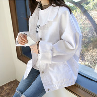 Spring Autumn Boyfriend Denim Jacket Womens Jackets And Coats White Lapel Single Breasted Casual Loose Outwear Casacos Feminino