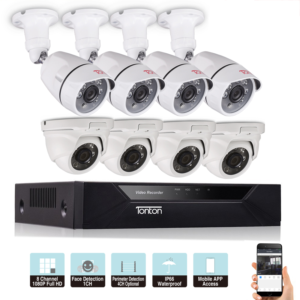 US $186 65 49% OFF|Tonton 1080P 8CH 5 in 1 DVR Kit CCTV Surveillance System  Face Detection Outdoor security 2MP camera Video surveillance system-in