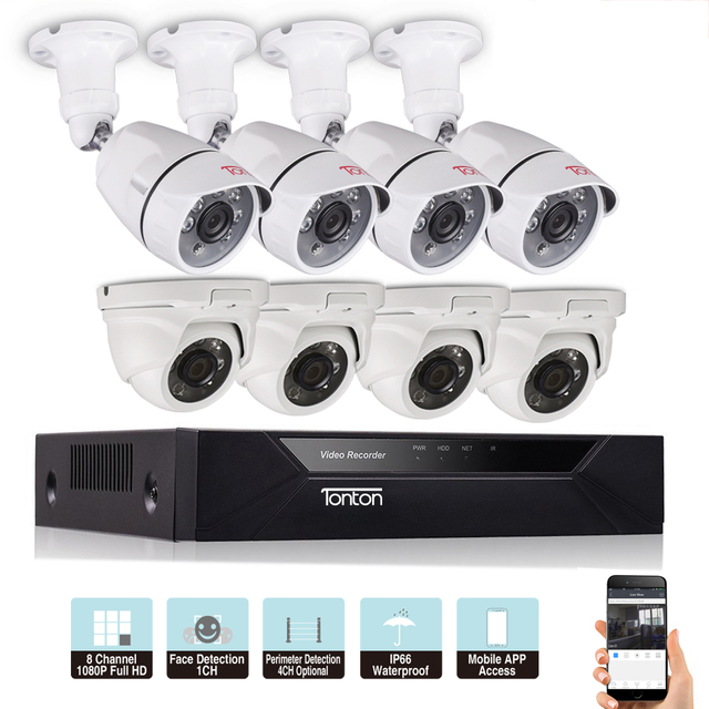 US $204 95 44% OFF|Tonton 1080P 8CH 5 in 1 DVR Kit CCTV Surveillance System  Face Detection Outdoor security 2MP camera Video surveillance system-in