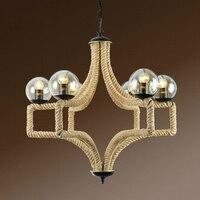 Nordic henneptouw hanglampen creatieve restaurant woonkamer lamp retro persoonlijkheid glas bal lichten magic bean lamp Bubbl