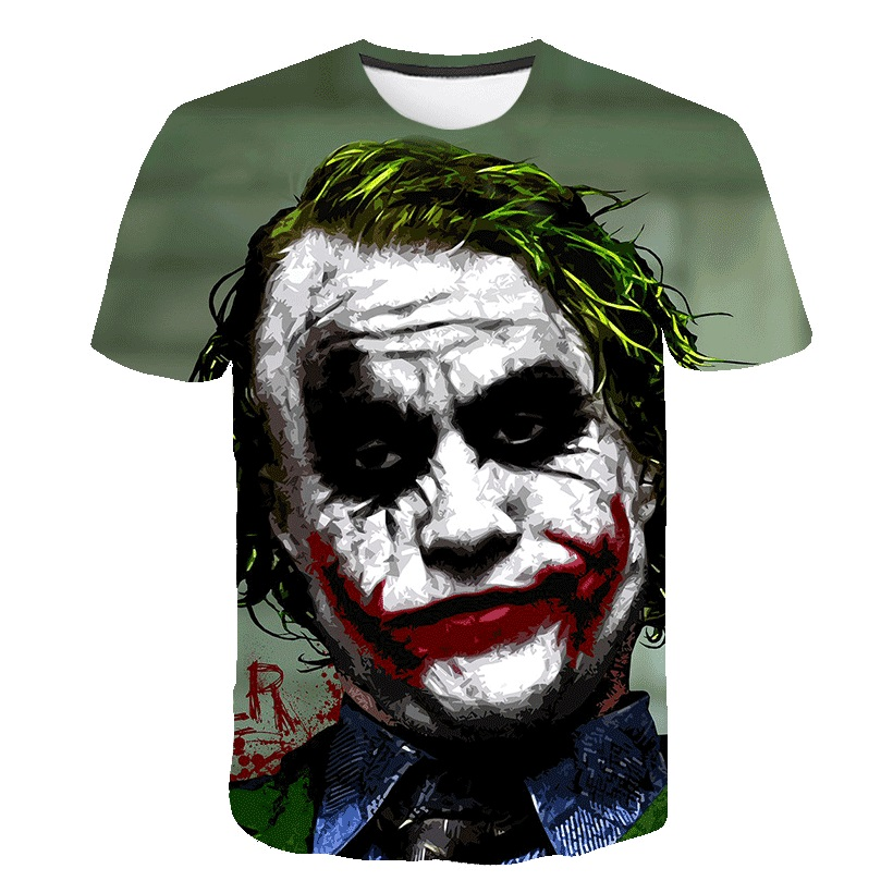 The Dark Knight 3D Printed T Shirt Men Joker Face Casual O-neck Male tshirt Clown Short Sleeve Cosplay Funny T shirts Pokemon