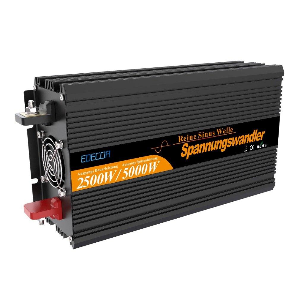 2500W pure sine wave solar power inverter DC 12V 24V to AC 220V 230V with remote controller off grid inverter