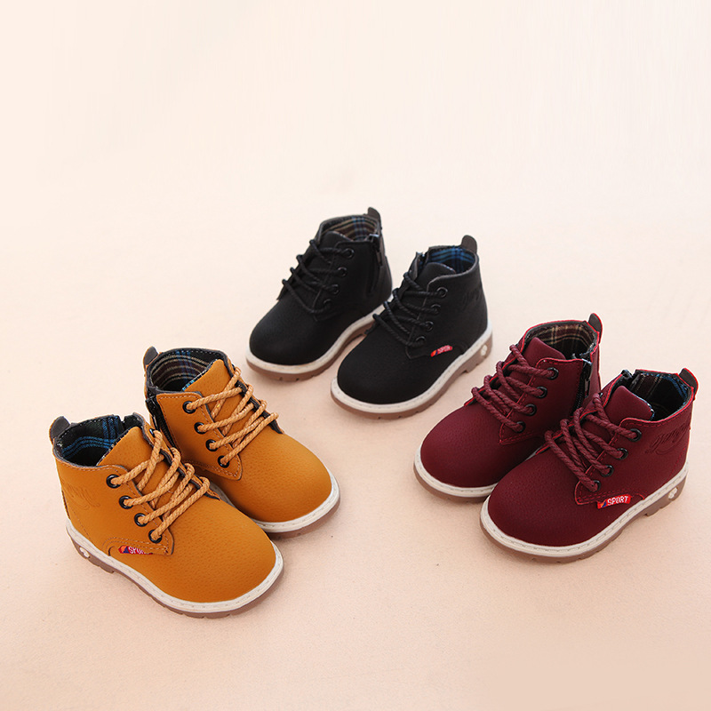 2017 Winter Children Snow Boots Baby Girls Boys Pu Leather Shoes Kids Rubber Waterproof  ...