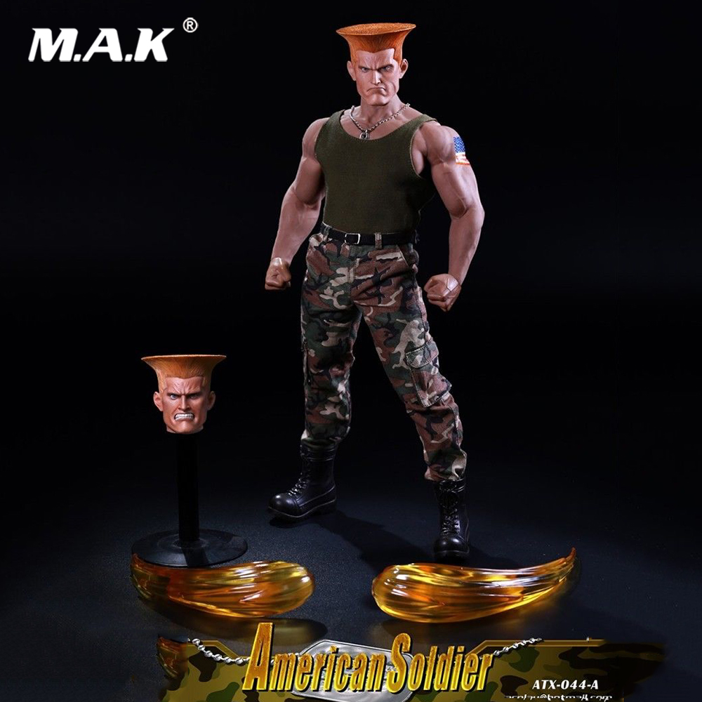 For Collection ATX044A Street Fighter American Soldier 1/6 Scale Clothes Suit with Two Heads Model for 12 inches Action Figure