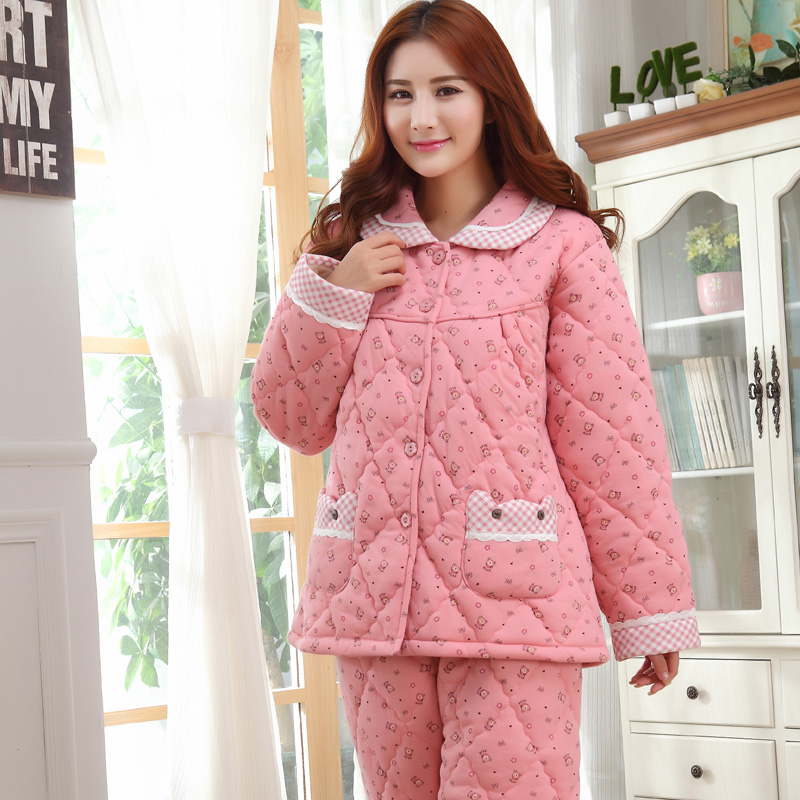 New Three Layer Winter Thick Quilted Pajamas Women Casual Cotton Tracksuit  Long sleeved Pyjamas Plus Size Pijamas Mujer Inverno-in Pajama Sets from ... 6a15e3089