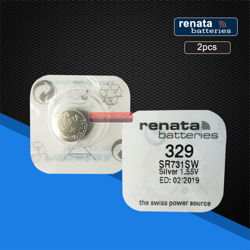 2pack Renata LONG LASTING 329 SR731SW D329 V329 Watch Battery Button Coin Cell Batteries