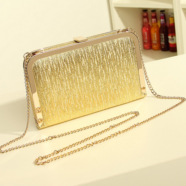 2016 new fashion design dinner women handbag gold sliver black small bag of gold chain bags