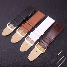 Lleather Watches Band Strap 12mm 14mm 16mm 18mm 19mm 20mm 22mm Brown Pink White Brown Black Woman Man Watchbands Watch Belts(China)