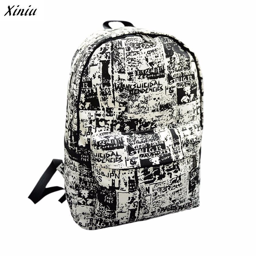Xiniu Backpack School Black Color Newspaper Letter Women Printing Travel Backpacks Sac A Dos #2823