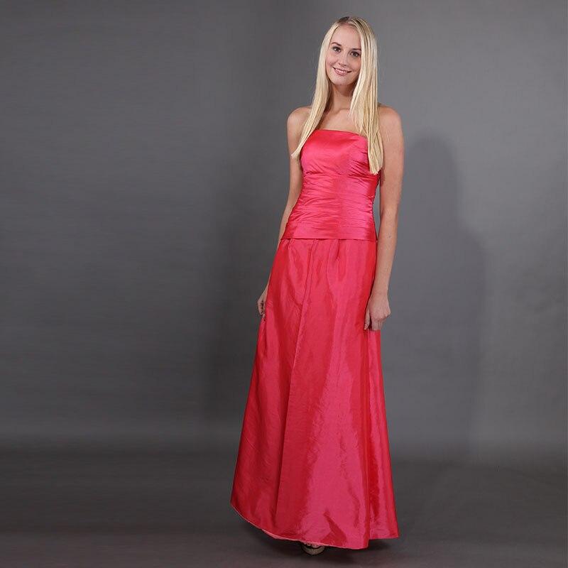 Simple Full Length Watermelon   Bridesmaid     Dresses   Sheath Taffeta 2019 New Custom Robe De Soiree Long Wedding Guest Party Gowns