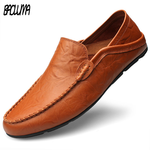 c808f87b39f Big Size 45 46 47 Summer Leather Shoes Men Italy Casual Moccasins Mens Slip-on  Loafers Breathable Walking Driving Black Shoes