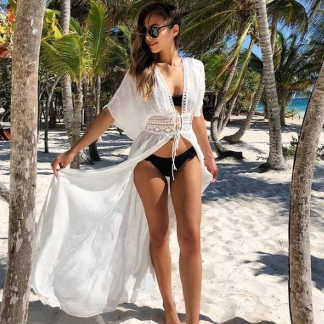 Fashion 2019 Swim Long Maxi Dress New Beach Wear Women Cover Up Summer Boho Swimsuit Cover Up Sexy Lace Hollow Out Beach Dress 10