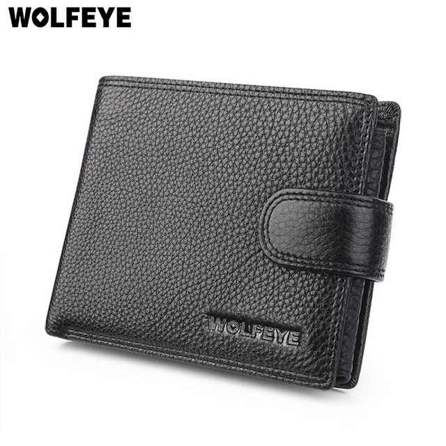 Black Litchi Pattern Real Genuine Leather Wallets Men ID Documents Credit Card Holder Purses Portomonee Portefeuille Carteras