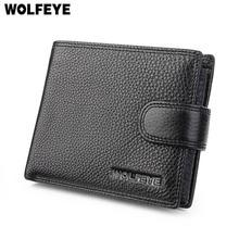 Black Litchi Pattern Real Genuine Leather Wallets Men ID Documents Credit Card Holder Purses Portomonee Portefeuille Carteras