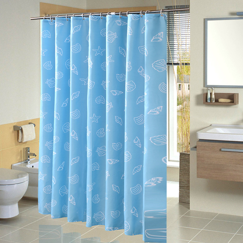 Sky Blue Polyester Shower Curtain Cameo Shell Printed Bath Scenery Waterproof Mould Proof Bathroom Cortina De Bano In Curtains From Home