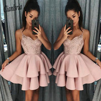 Dusty Rose Short Homecoming Dresses 2019 Fall Spaghetti Straps A Line Layers Cocktail Dress Lace Sequins Mini Prom Gowns