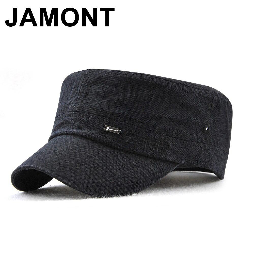 Gorra militar Jamont estilo cadete ejército hombres mujeres Color puro  lavado algodón tapa plana verano otoño ajustable Chapeau visera sombrero 4d3ee7ab27d