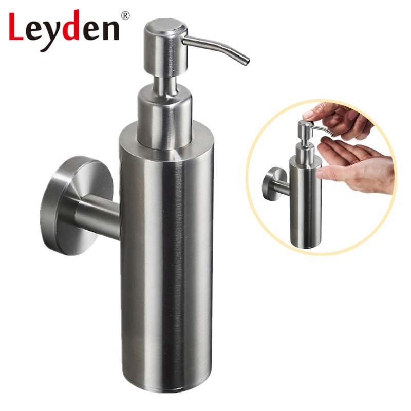 Leyden Stainless Steel Round Liquid Soap Bottle Brushed Nickel Wall Mounted Hand Liquid Soap Dispenser Holder Bathroom Accessory 11 11 free shippinng 6 x stainless steel 0 63mm od 22ga glue liquid dispenser needles tips