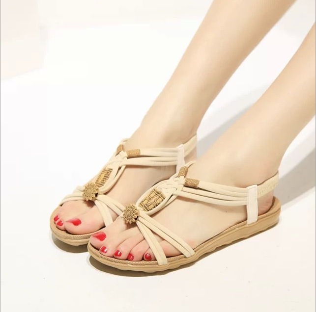 2017 New Summer Bohemia Sandals String Beading Low Heels Women Gladiator Sandals Platform Wedges Shoes Woman Plus Size 36-40 choudory bohemia women genuine leather summer sandals casual platform wedge shoes woman fringed gladiator sandal creepers wedges