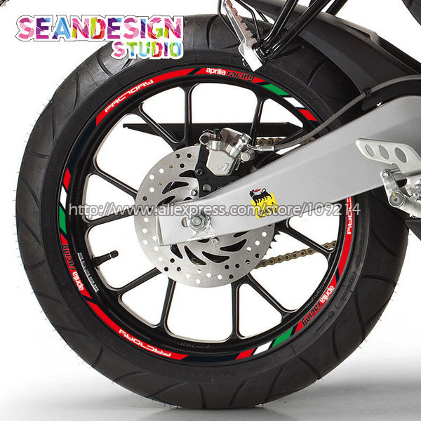 For Aprilia Racing Aprilia Factory RS4 RS125 Tuono Caponord RSV4 Motorcycle Wheel Sticker Decal Reflective Rim Bike Suitable motorcycle accessories gear shifter shoe case cover protector for aprilia rs 125 rs125 rsv4 fairing kit rsv 1000 tuono shiver