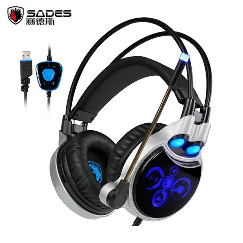 Sades R8 Gaming Headset Gamer USB Virtual 7.1 Surround Sound Stereo Headphones headfone with Micropone Led Light fone de ouvido